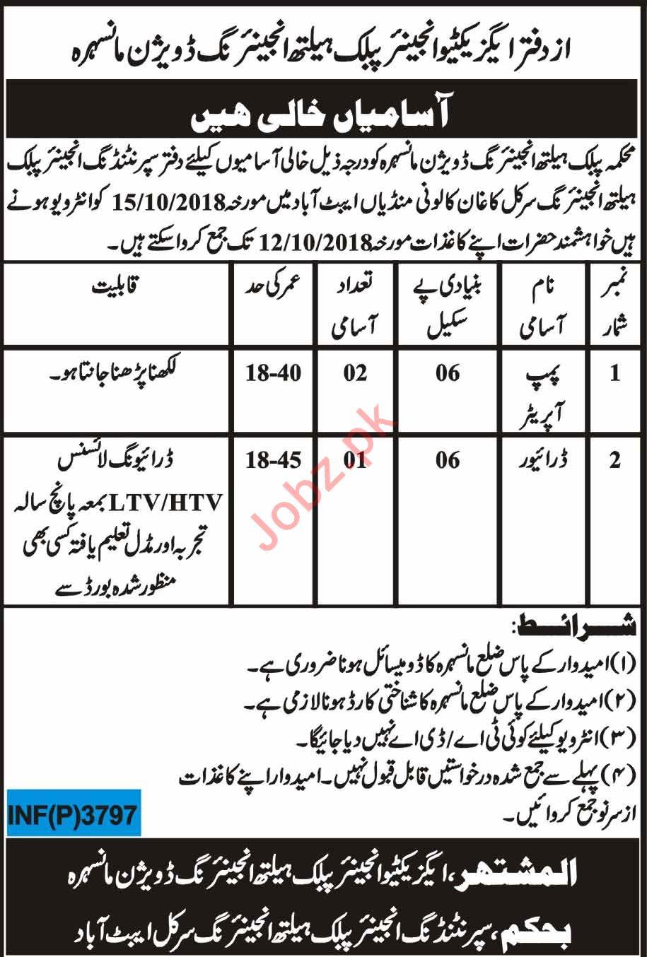 Public Health Engineering Division Jobs 2018 In Manshera KPK