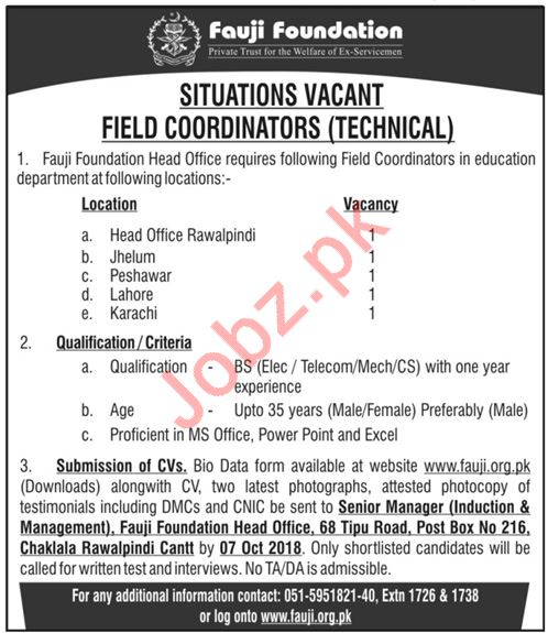 Fauji Foundation Jobs 2018 Field Coordinators Technical