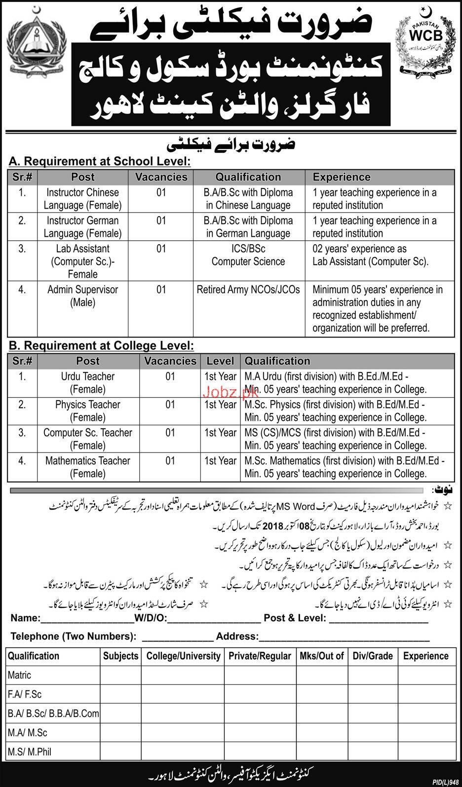 Cantonment Board Public School and Girls College Jobs