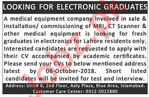 Electronic Graduates Jobs 2018 in Islamabad