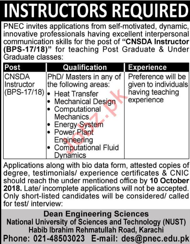 Pakistan Navy Engineering College PNEC NUST Karachi Jobs