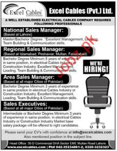 Excel Cables Lahore Jobs for Managers
