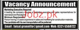 Marketing Executive Job 2018 in Rawalpindi