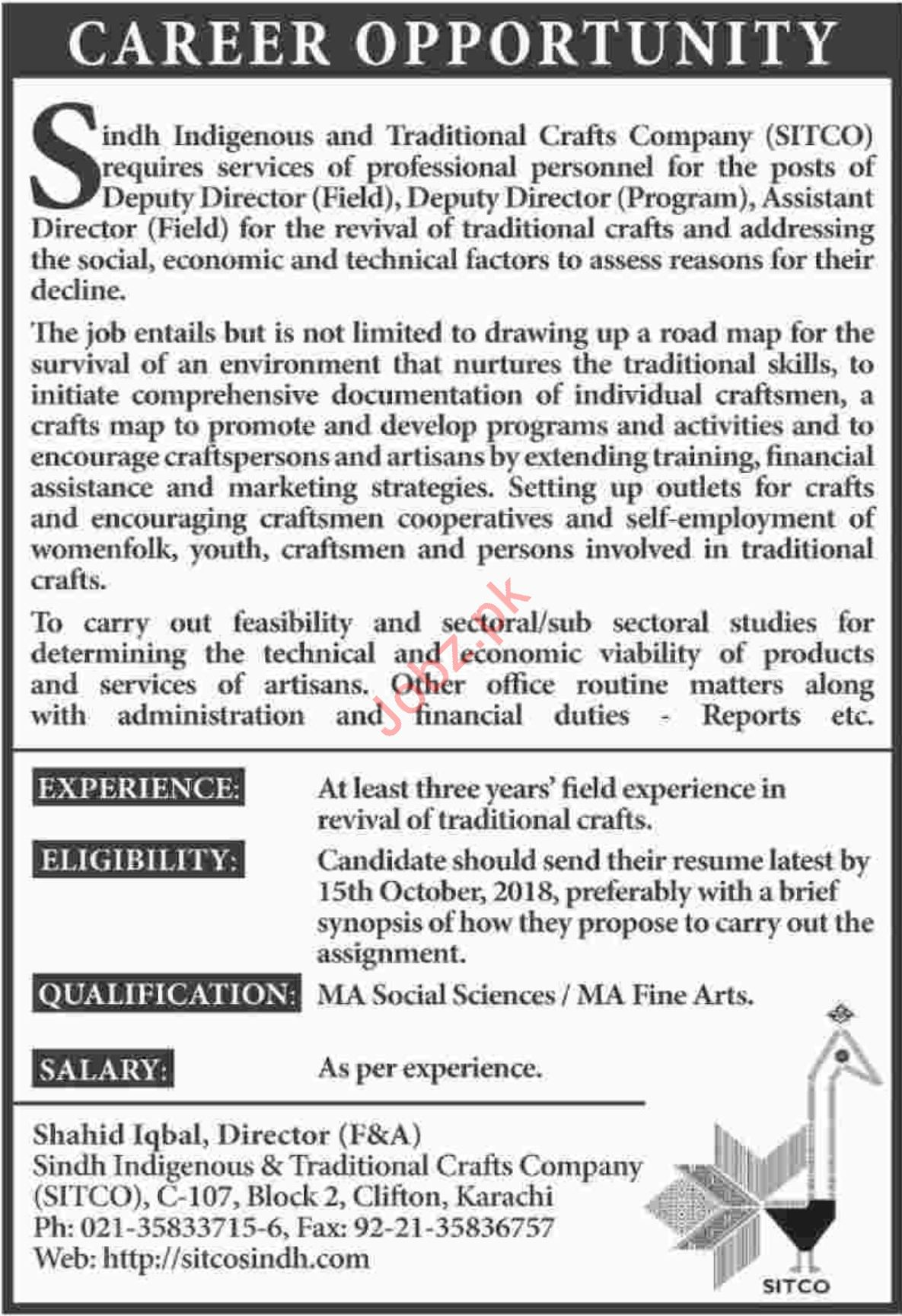 Sindh Indigenous & Traditional Crafts Company SITCO Jobs