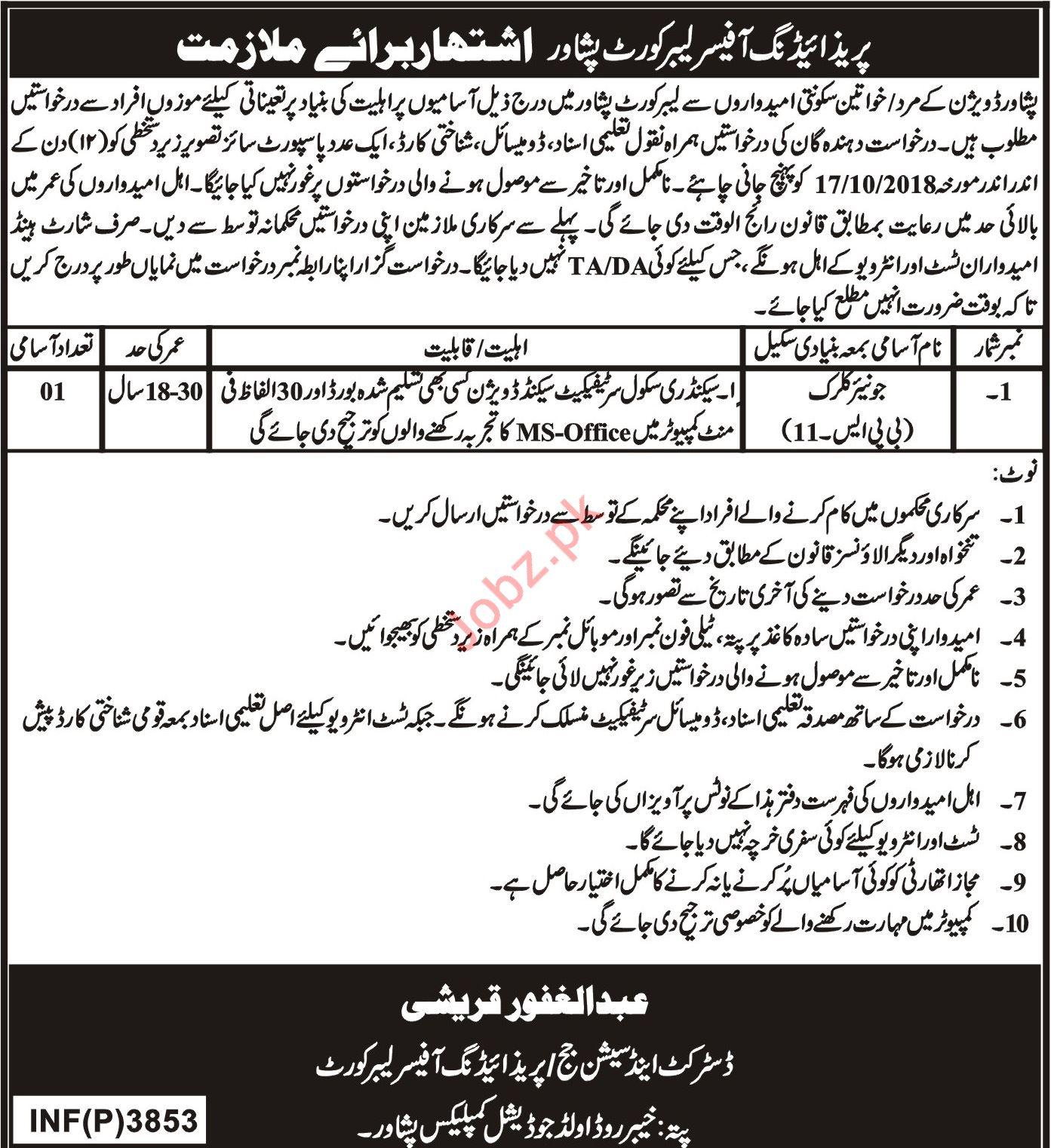 Labour Court Peshawar KPK Junior Clerk Job 2018