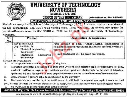University of Technology Nowshera KPK Job Lab Technologist