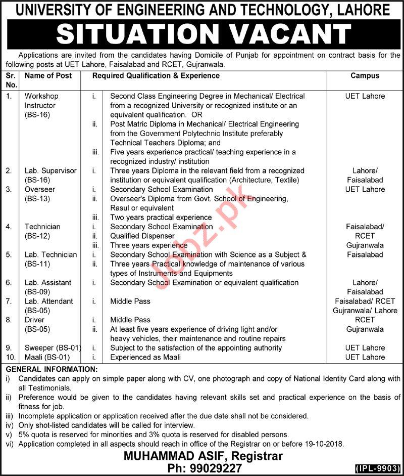University of Engineering & Technology UET Lahore Jobs 2018