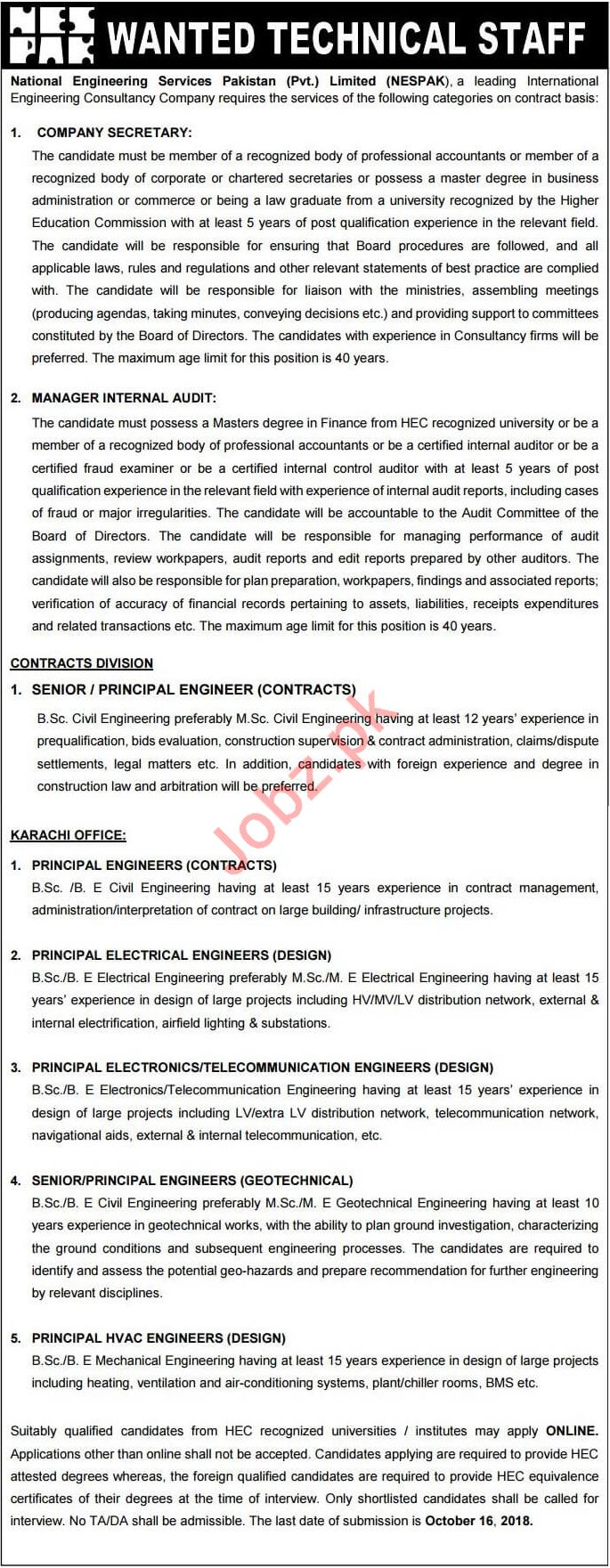 NESPAK Technical Jobs 2018 in Lahore