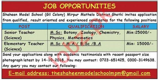 Shaheen Model School Teachers Jobs 2018 in Ghotki