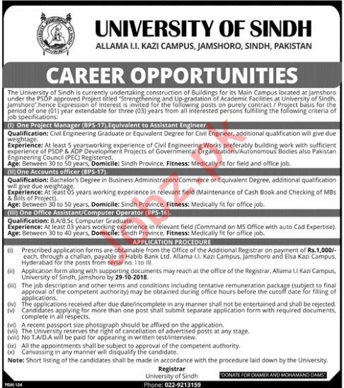 University of Sindh Jobs 2018 in Jamshoro
