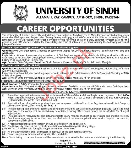 The University of Sindh Jobs 2018