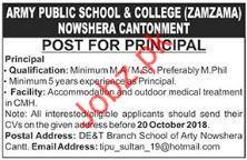 Principal Jobs in Army Public School & College