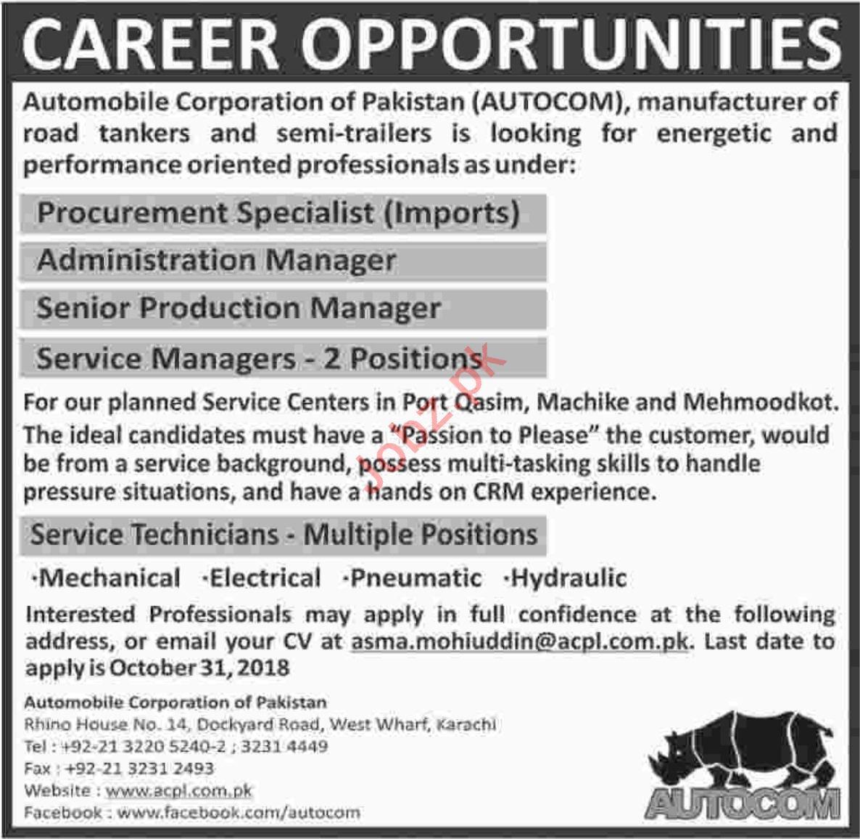 Automobile Corporation Of Pakistan Admin Manager Jobs 2021 Job Advertisement Pakistan