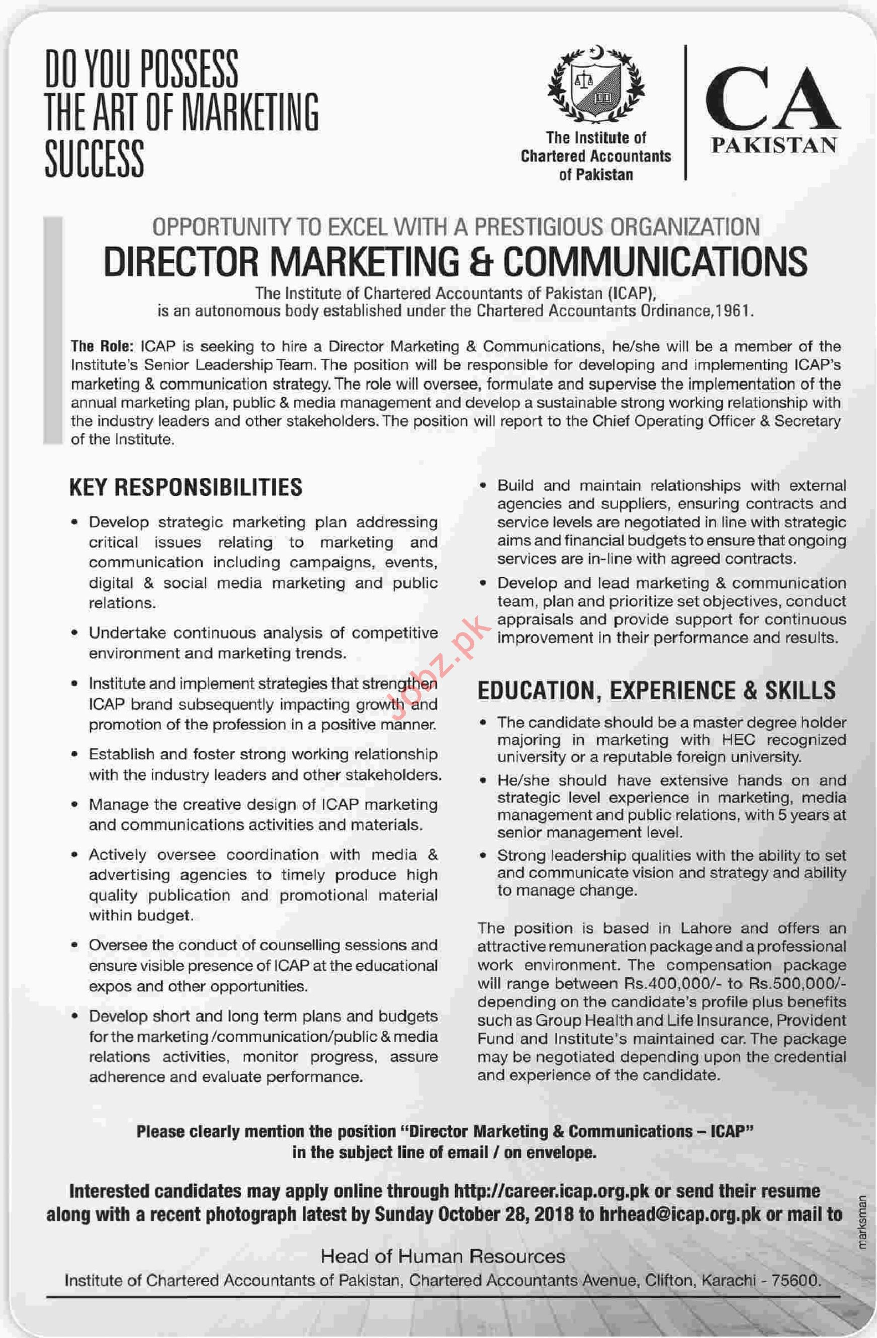 CA Pakistan Director Marketing and Communications Jobs