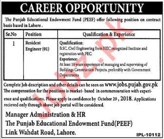 Resident Engineer Job 2018 in Lahore