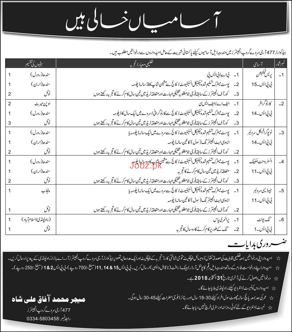 477 Army Survey Group Engineers Jobs