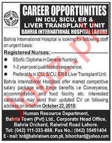 Registered Nurses Jobs 2018 in Lahore