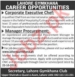 Lahore Gymkhana Club Corporate Executive Chef Jobs