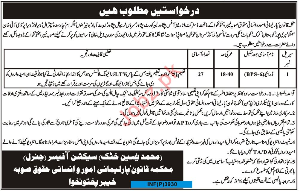 Law Parliamentary Affairs & Human Rights Department Jobs