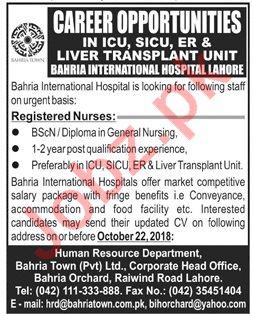 Bahria International Hospital Lahore Jobs for Staff Nurses