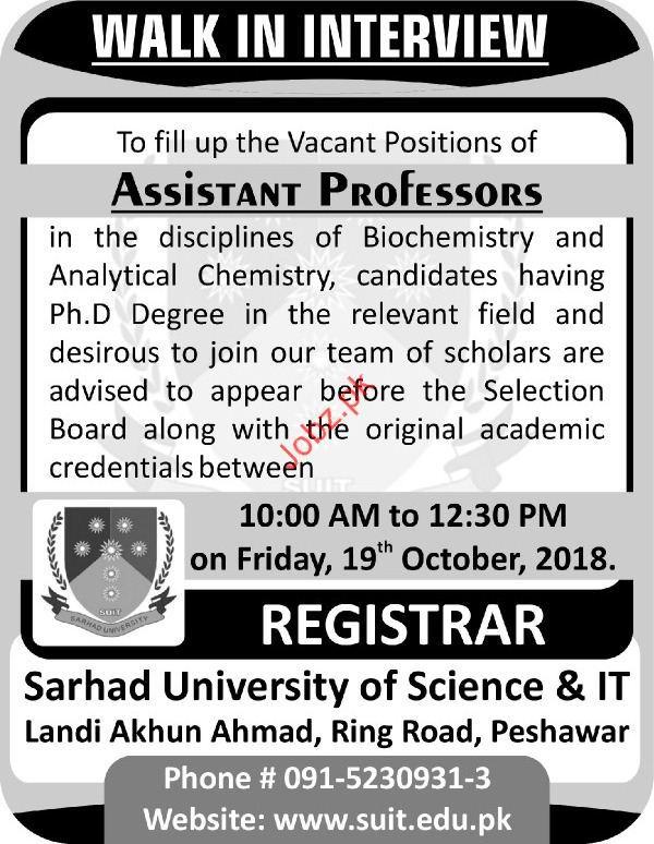 Sarhad University of Scinece & IT Professor Jobs 2018