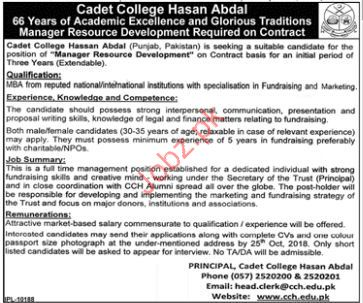 Cadet College Hassan Abdal Manager Resource Jobs 2018