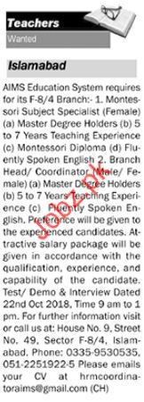 Aims Education System Teaching Jobs 2018 in Isalamabad