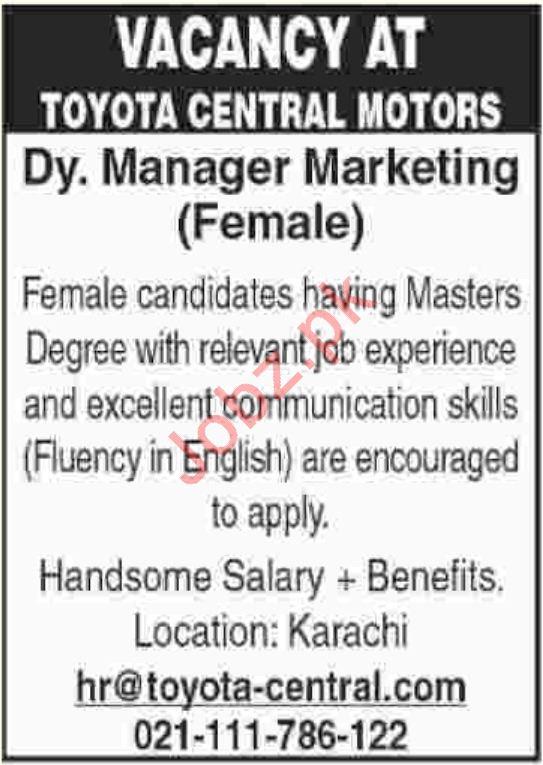 Toyota Central Motors Deputy Manager Marketing Jobs
