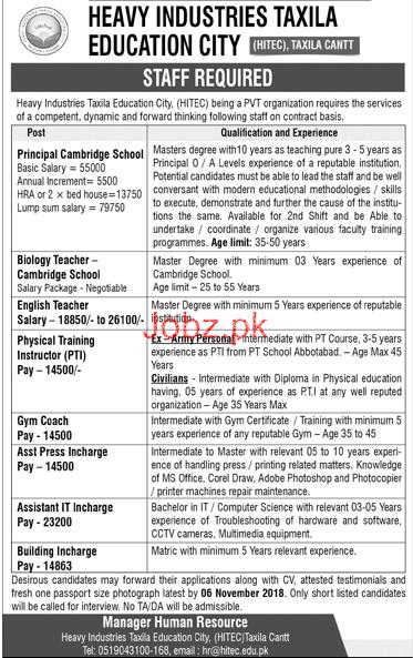 Heavy Industry Taxila Education City Taxila Cant Jobs