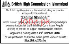 British High Commission Islamabad Digital Manager Jobs