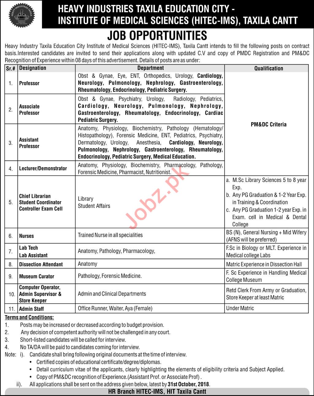 Institute of Medical Science Taxila Cantt Jobs 2018