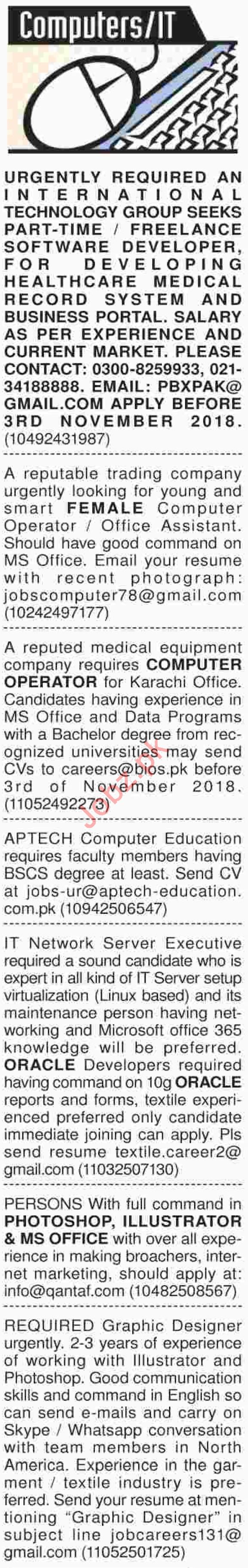 Dawn Sunday Classified Ads for Computer and IT Jobs