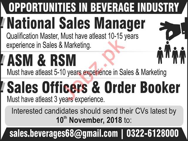 Beverage Industry Sales Jobs 2018 in Multan