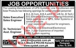 Sales Executive, Engineer, Sr Technician, Asst Engineer Jobs