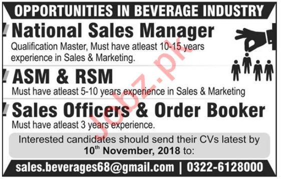 National Sales Manager, Sales Officer & Order Booker Jobs