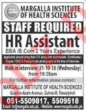 Margalla Institute of Health Sciences Job HR Assistant
