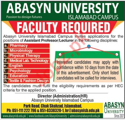 Abasyn University Islamabad Campus Faculty Jobs 2018