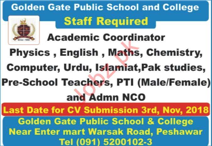 Golden Gate Public School & College Peshawar Teachers Jobs
