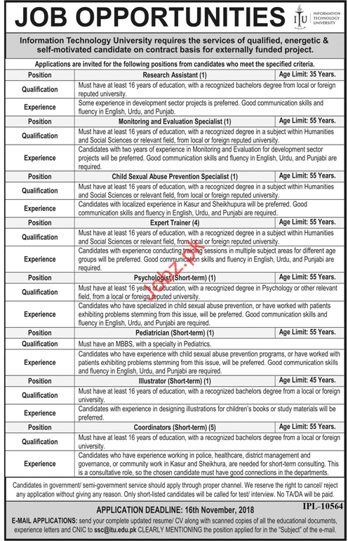 Research Assistant Jobs in Information Technology University