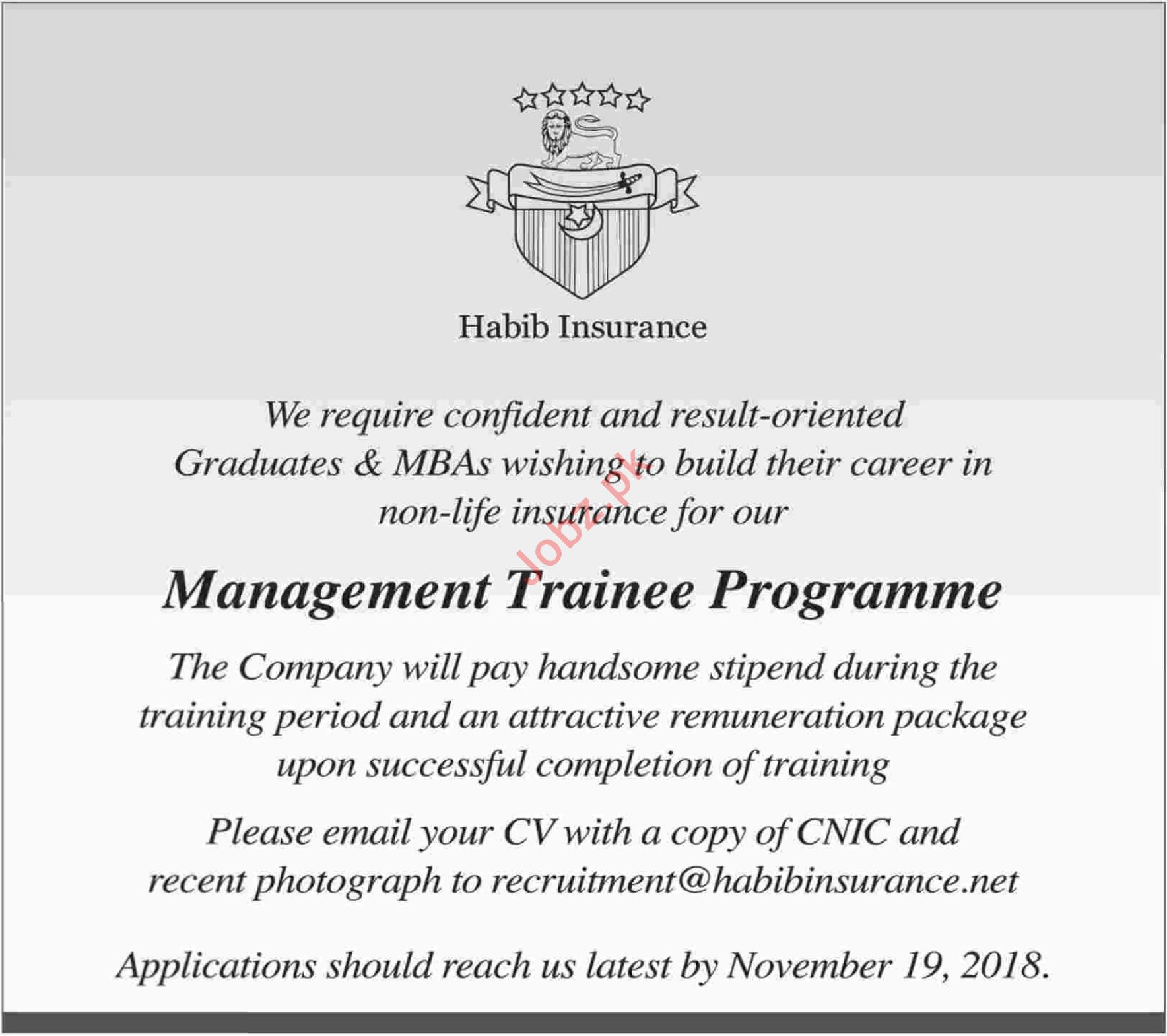 Habib Insurance Job 2018 Management Trainee Programme