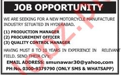 Motorcycle Manufacturing Industry Production Manager Jobs