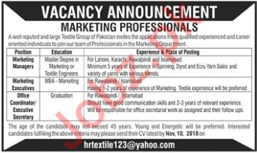 Marketing Professionals for Textile Group
