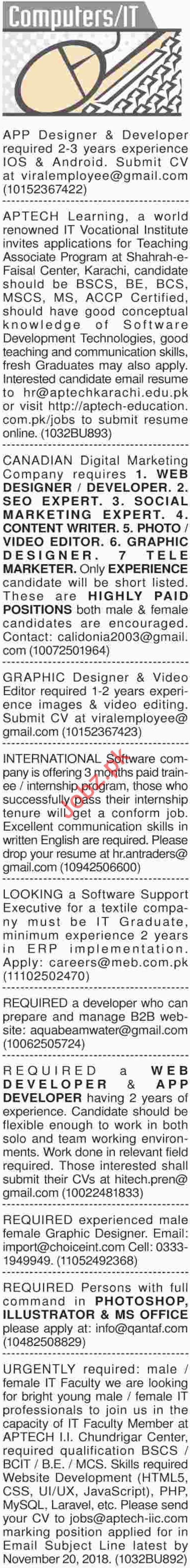 Dawn Sunday Newspaper Classified Computers & IT Ads 2018