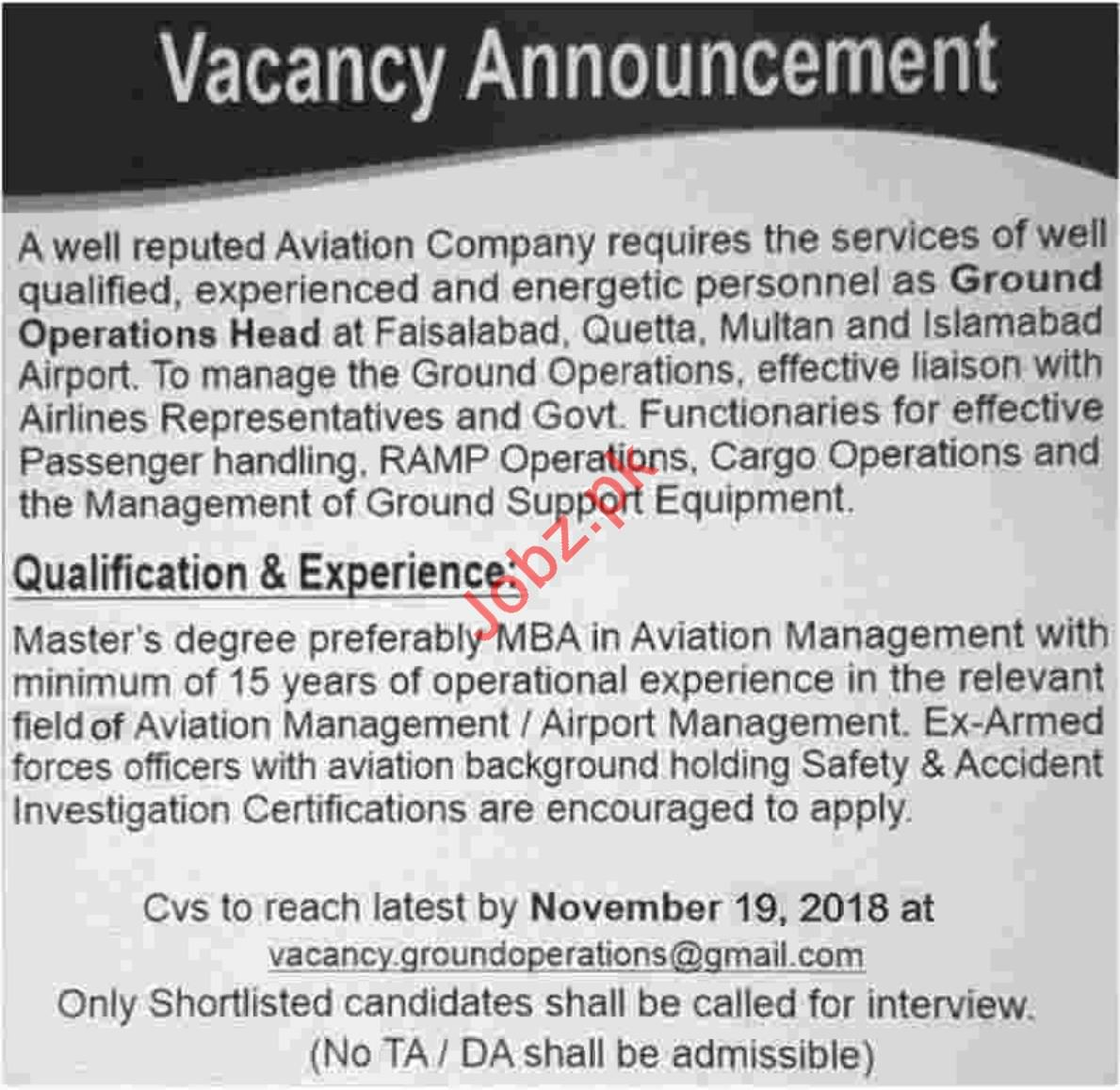 Ground Operations Head for Aviation Company