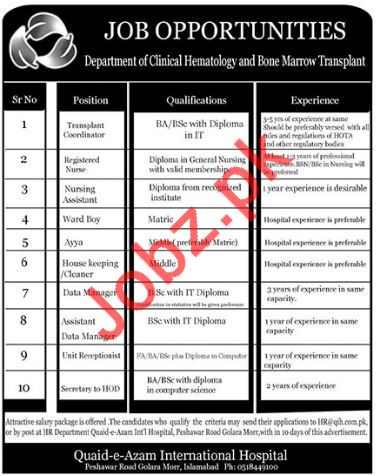 Quaid e Azam International Hospital Jobs 2018 in Islamabad