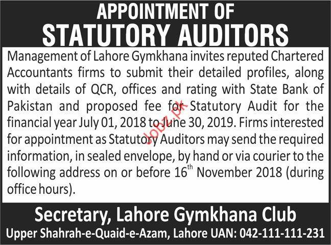 Lahore Gymkhana Statutory Auditor Jobs 2018