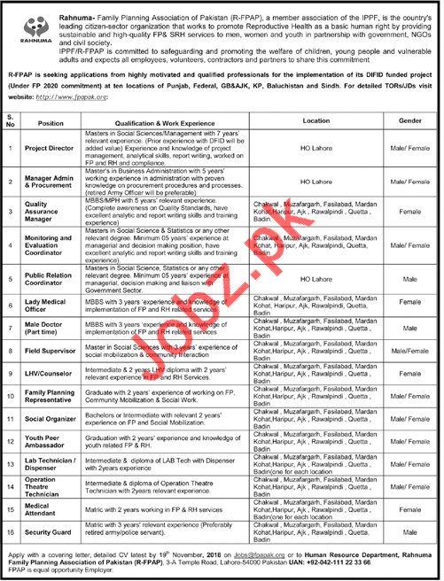 Rahnuma Family Planning Association of Pakistan Jobs 2018