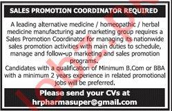 Sales Promotion Coordinator for Medicine Company