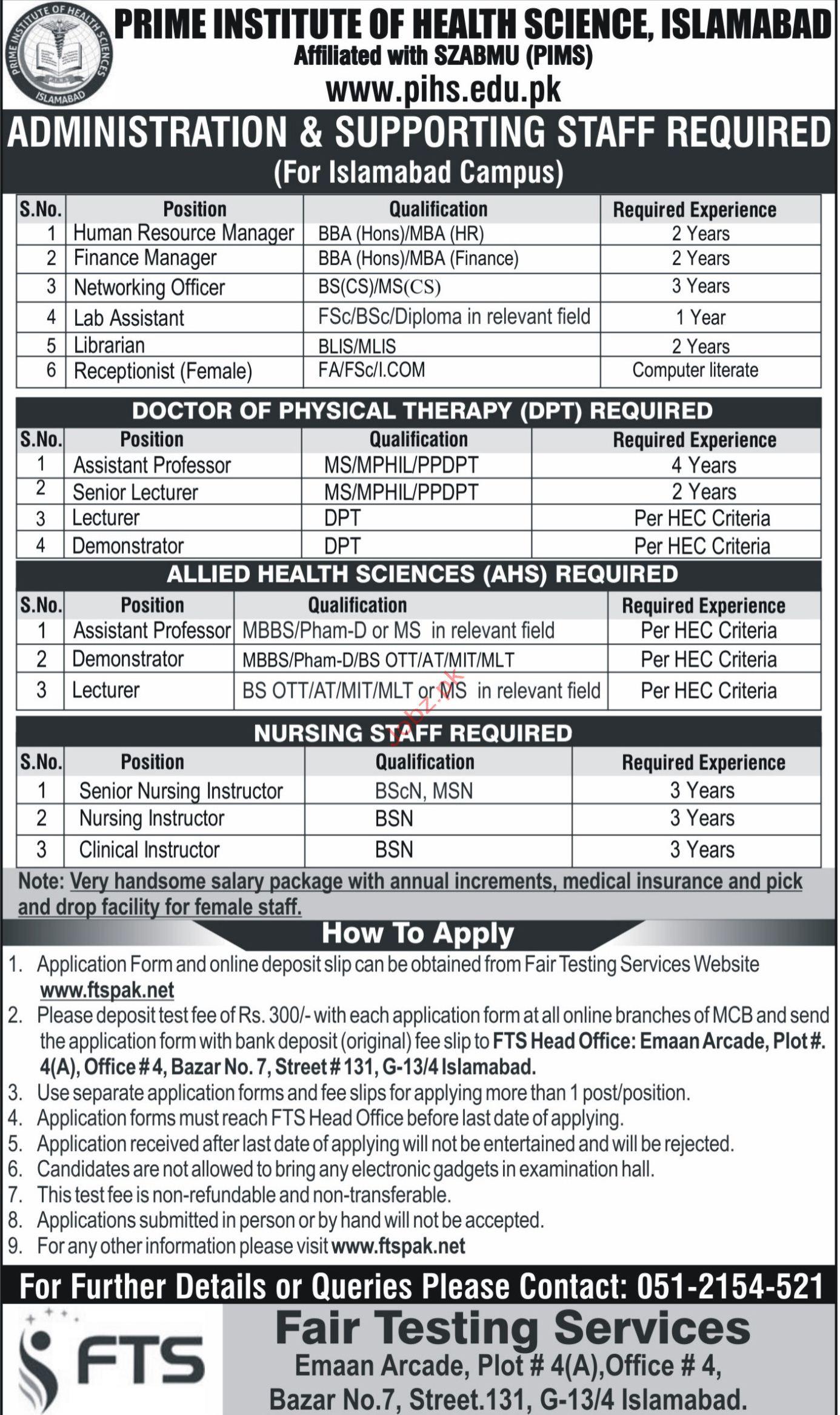 Prime Institute of Health Sciences HR Manager Jobs 2018