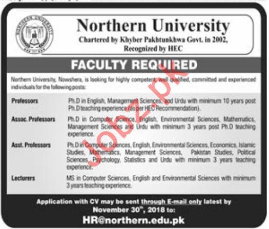 Northern University Nowshera Jobs for Professors